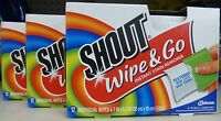 3 Boxes Of Shout Wipe & Go Instant Stain Remover Shout Wipes (36 Wipes)