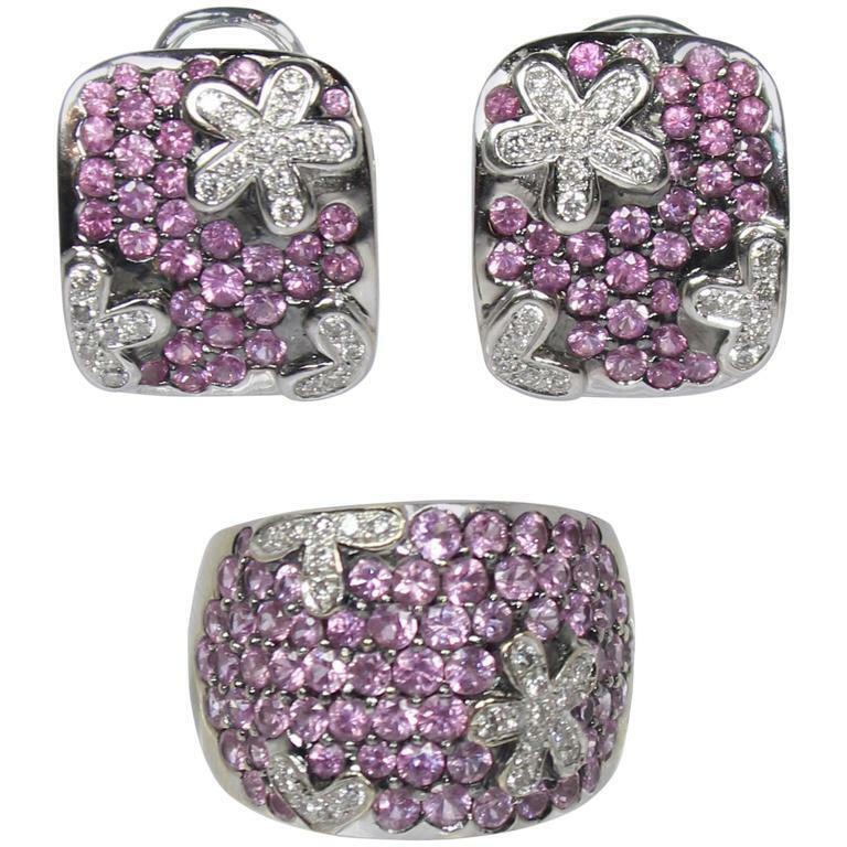 CRISTINA FERRARE Pink Tourmaline Diamond Gold Set Earrings and Ring
