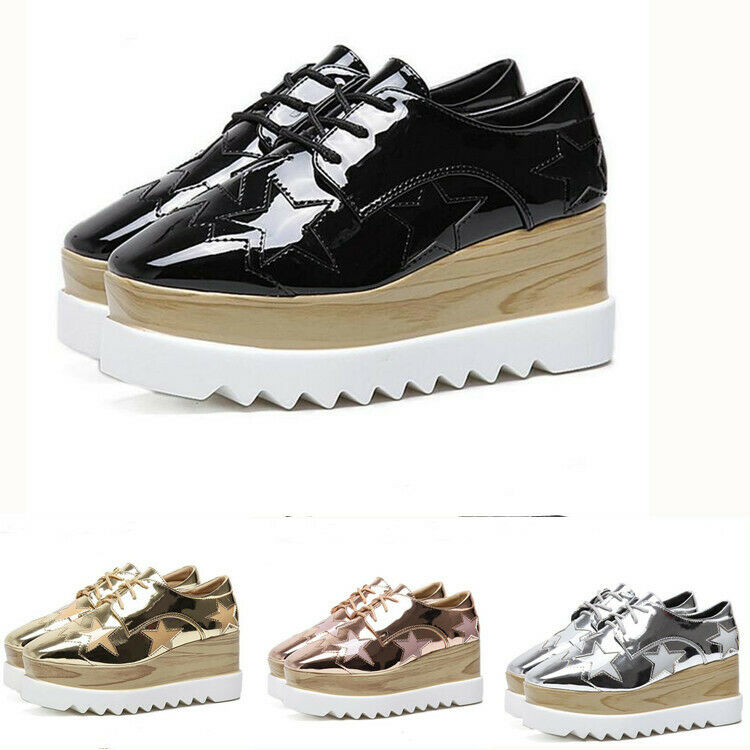 donna Platform Very High Wedge Heel Lace Up Square Toe Star Multi Coloreeosso scarpe