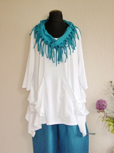 Moonshine Fashion° Lagenlook Zipfel Tunika Shirt Baumwolle ~Weiß ~ 2