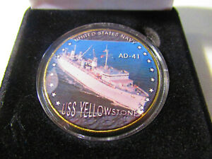 Gold Plated Challenge Coin USS Shenandoah AD-44 U.S United States Navy