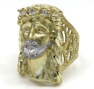 8-00-Grams-10k-Yellow-Real-Gold-Mens-Large-Face-Jesus-Hip-Hop-Ring