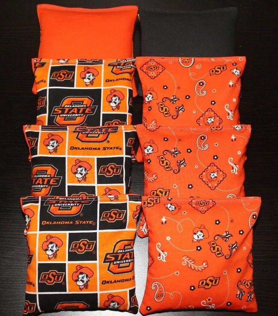 8 All Weather made w OSU OKLAHOMA STATE Fabric Cornhole Bean Bags Waterproof
