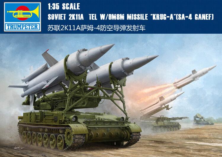 Misil W 9M8M soviético 2K11A Tel Krug-a SA-4 ganef 1 35 Kit Modelo Tanque Trumpeter