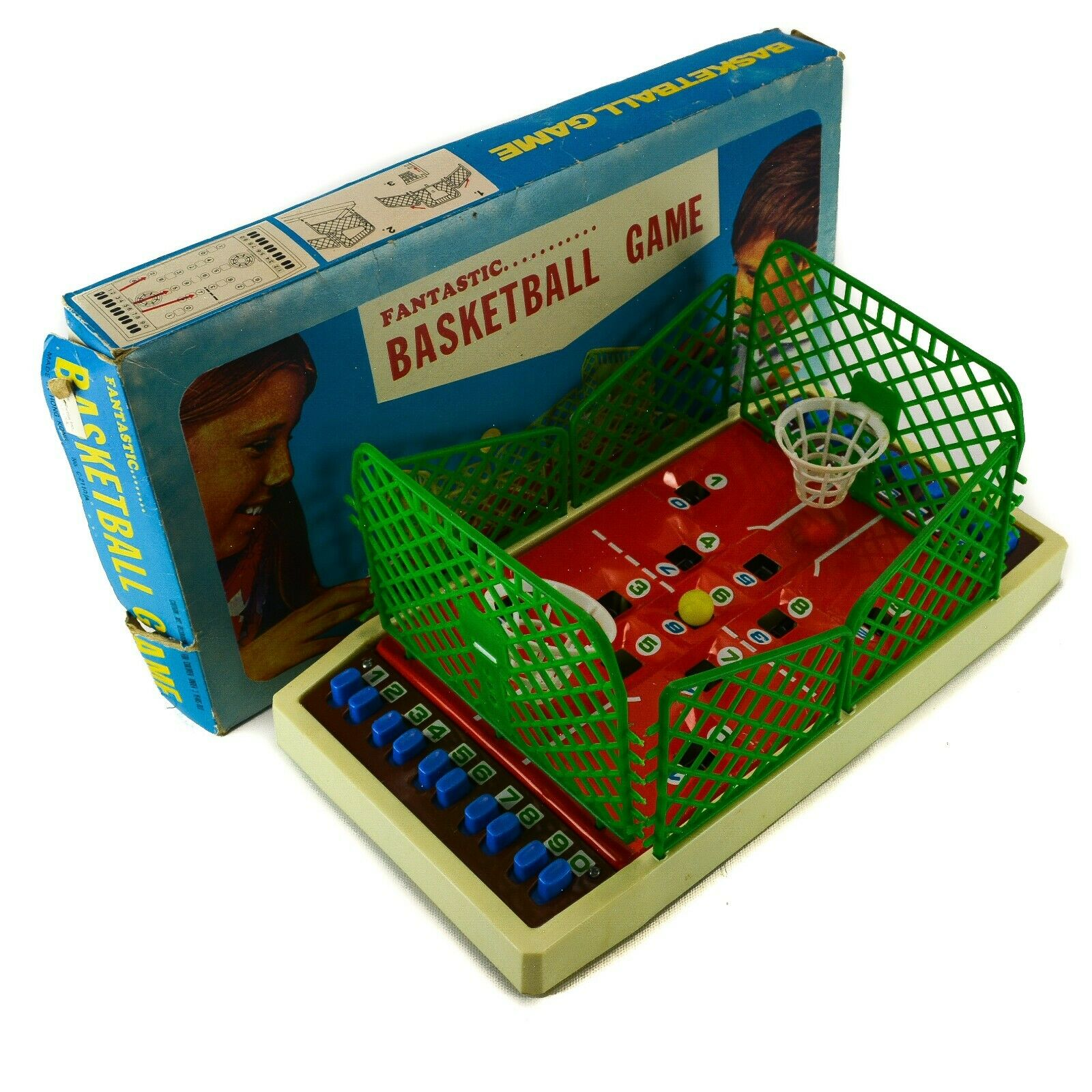 Fantastic BASKETBALL GAME Table Game Hong-Kong Toy Old Red Green Spring Vintage
