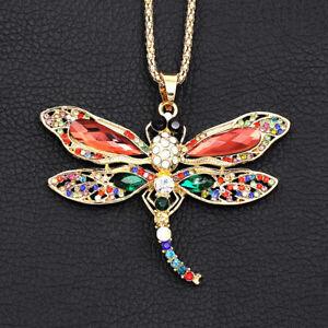 Betsey-Johnson-Crystal-Rhinestone-Cute-Dragonfly-Pendant-Women-039-s-Necklace-Gift