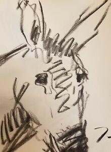 "JOSE TRUJILLO - Original Charcoal Paper Sketch Drawing 12"" Modernist Donkey ART"