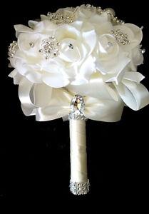Realistic pe foam flowers wedding brooch bouquet white free ship usa image is loading realistic pe foam flowers wedding brooch bouquet white mightylinksfo