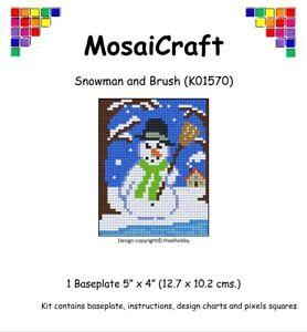 MosaiCraft-Pixel-Craft-Mosaic-Art-Kit-039-Snowman-and-Brush-039-Pixelhobby