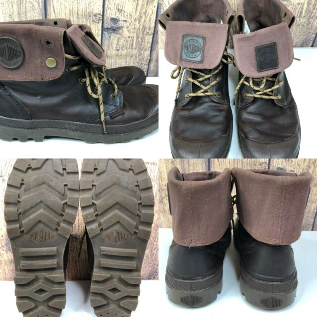 Mens PALLADIUM Brown Baggy Leather Ankle Boots Shoes SIZE 14 EUR 49 (UK 13)