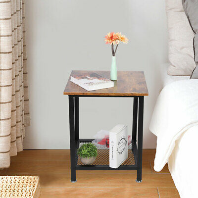 Details about  2 Tier Side Table Coffee End Table with Storage Shelf for Bedroom Living Room