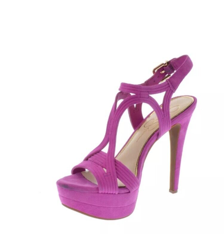 Jessica Simpson Salemm Twilight Magenta Sandals Kid Lux Suede Platform 7 New Box