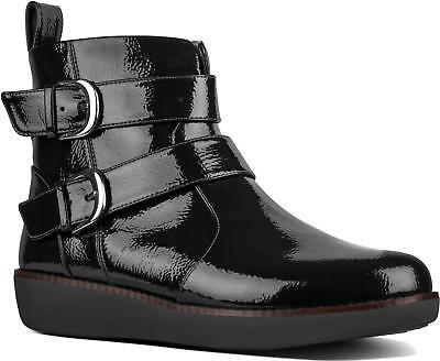 Fashionable Patent Ankle Boots Black