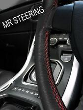 Si adatta 69-75 FIAT 124 Volante in Pelle Nera Cover Rosso Scuro doppia cucitura