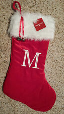 "MONOGRAMMED PLUSH CHRISTMAS STOCKING w/ Bells, LETTER  ""M""  Xmas Decoration NEW!"