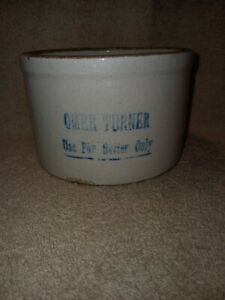 "OMER TURNER Butter Crock 3"" 3/4 Tall"
