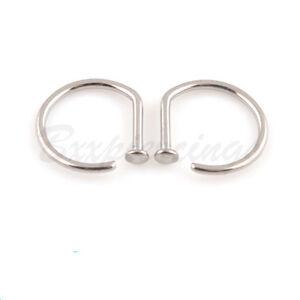 2pc Solid Titanium Nose Ring Open D Hoop 18 Gauge 18g 16g 5 16