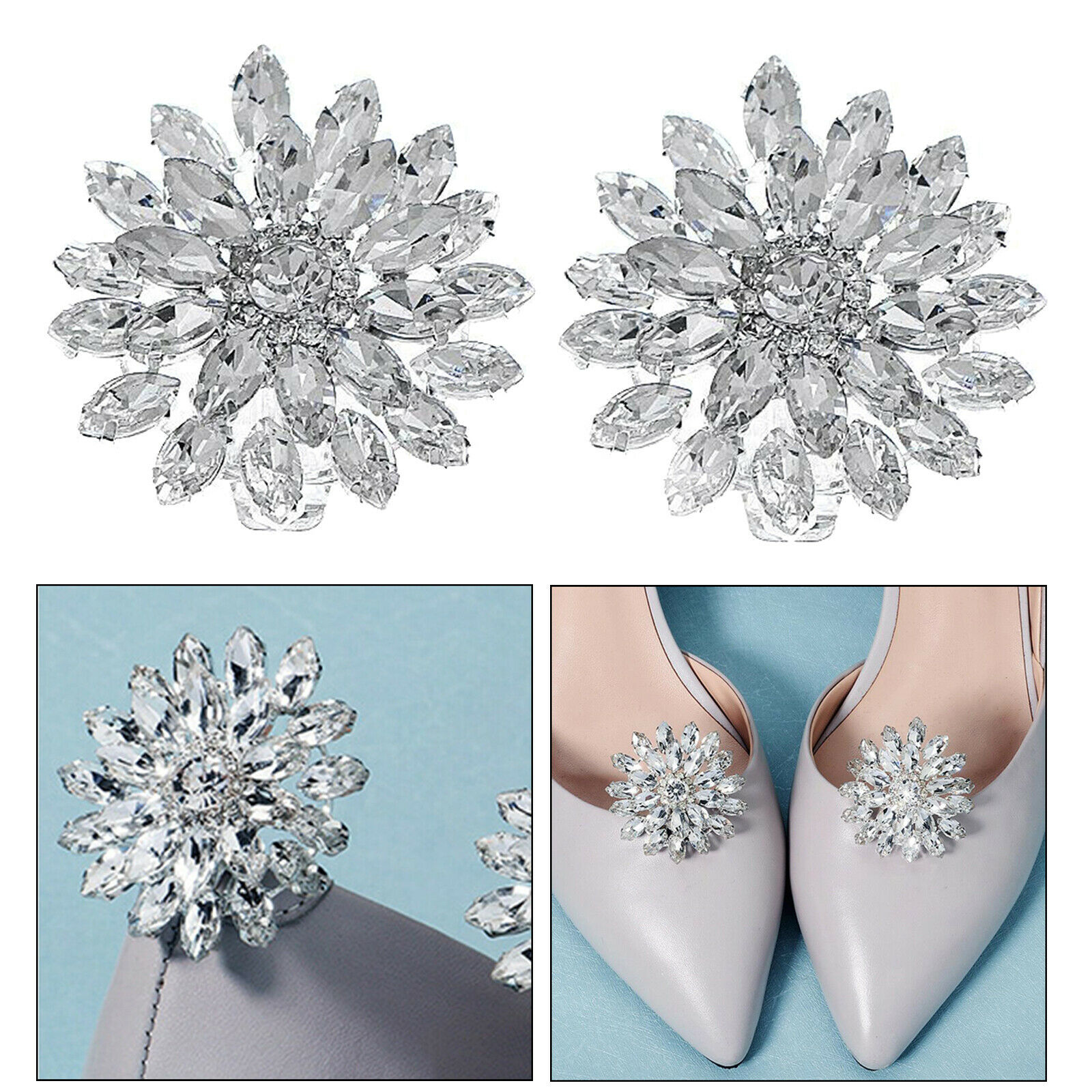 Rhinestone Crystal Sparkle Shoes Clips Vintage Decor Wedding Bridal