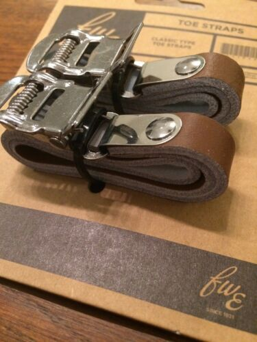 Dark Brown Real Leather Toe Clip Straps L/'Eroica Retro Vintage