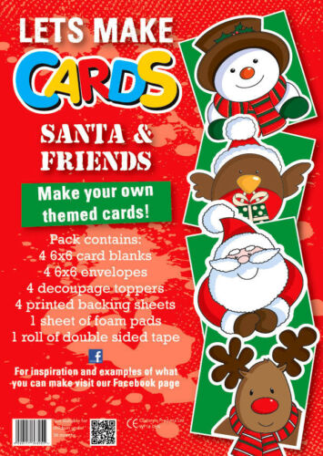 Lets Make Cards FULL kit childrens cut /& create decoupage SANTA /& FRIENDS XMAS