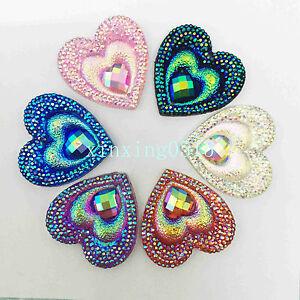 10PCS 30mm AB Resin heart shape Rhinestone Flatback Wedding diy 2 Hole Buttons
