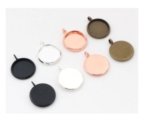 20pcs 12mm Charm Round Pendant Base Setting Cabochon Blank Tray Jewelry Making