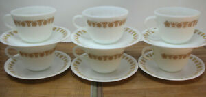 CORELLE CORNING  PYREX VINTAGE BUTTERFLY GOLD  6 CUPS AND SAUCERS