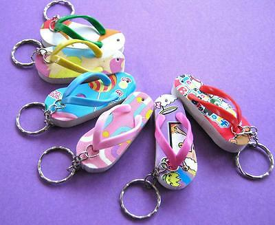 Bulk Lot x 12 Mixed Summer Thong Keyrings Girls Party Favor Novelty Toy NEW