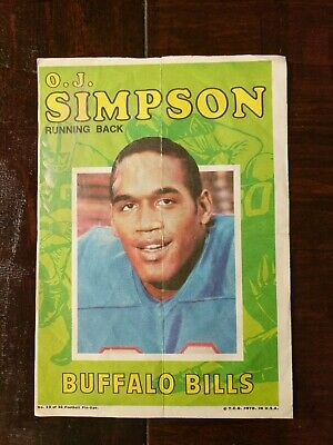 Simpson Fold Out Insert Poster #13 of 22 Vintage 1971 Topps Football Pin-Ups Buffalo Bills O.J