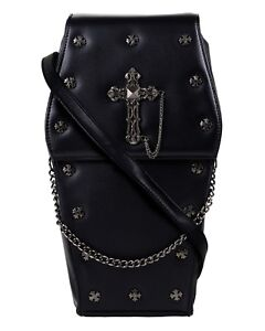 GOTHX-BLACK-COFFIN-METAL-CROSS-Steam-Punk-Rock-Goth-Backpack-Vegan-Handbag-Bag