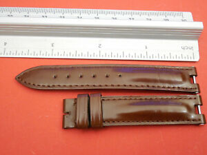GENUINE-BAUME-MERCIER-LINEA-14MM-BROWN-LEATHER-STRAP-BAND-BRACELET-WITH-PINS