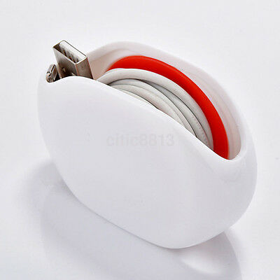 Retractable Cable Wire Cord Wrap Winder Organizer White AUTOMATIC Cord Winder for Headphones No More Tangled Cords Tablet and Reader Chargers USB Cables and Phone Earbuds