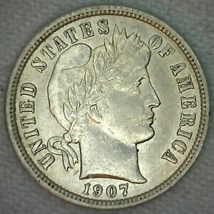 1907 10C Barber Dime ONE Coin