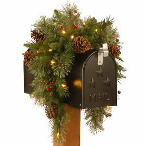 National Tree Company Colonial 36 Inch Flocked Pre-Lit Christmas Mail Box Swag