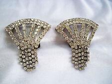 Art Deco Vintage Prong Set Crystal Rhinestone Fringe Large Shoe Clips