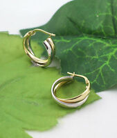 Sassi Ar025yw Ladies 375 9ct Yellow & White Gold Creole Hoop Leverback Earrings
