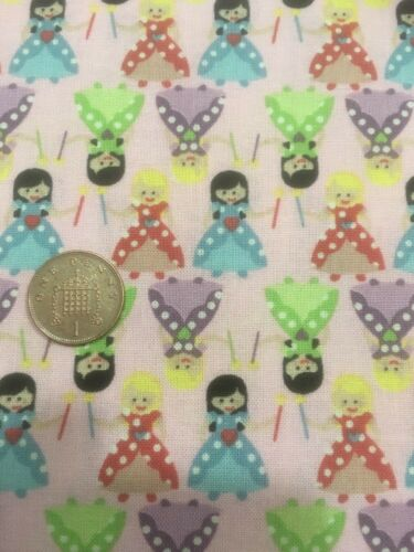 Tiny Princess Small Princesses On Pink 100/% Craft Cotton Company Quilting Fabric