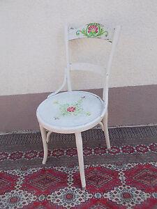Weißer Stuhl Shabby Chic Runder Blumen Küchenstuhl Bugholz Floraler