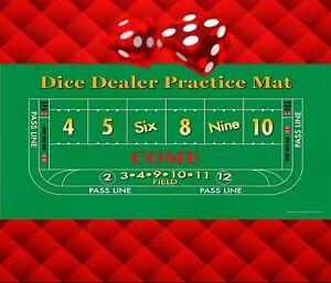 Craps Layout - Dice Dealer Practice Mat - Dealer Training Mat