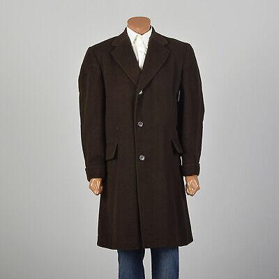 Xl 1960s Mens Cashmere Winter Coat, Mens Chocolate Brown Pea Coat