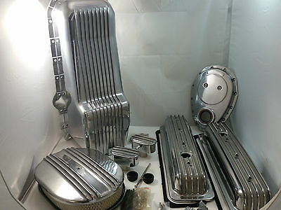 Polished Finned SB Chevy SBC Engine Dress Up Kit (TALL) Center Bolt Covers 87-95