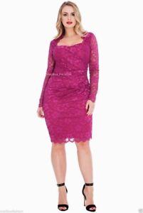 Ladies-Gemma-Collins-Style-Lace-Dress-Magenta-Cocktail-Party-TOWIE-Plus-Size