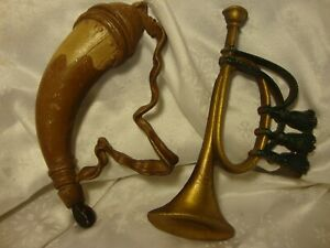 Vintage-Sexton-576-Set-of-2-Cast-Aluminum-Wall-Art-Bugle-amp-Powder-Horn-384