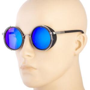 a42c15cce75e Image is loading Vintage-Retro-Mirror-Round-SUN-Glasses-Goggles-Steampunk-