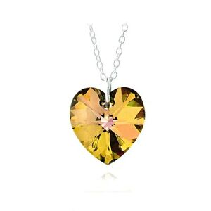 925-Sterling-Silver-Citrine-Swarovski-Elements-Heart-Necklace