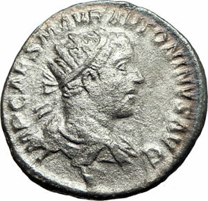 ELAGABALUS-218AD-Rome-Authentic-Ancient-Silver-Roman-Coin-Roma-Victory-i76272