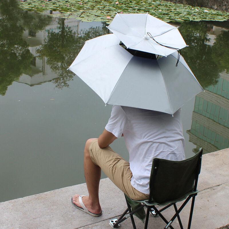 Outdoor Foldable Sun Umbrella Hat Fishing Camping Headwear Cap Head Durable QN