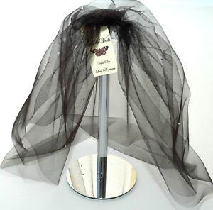 Black-Bouffant-Veil-Crystal-Wedding-Any-Length-Short-Sparkle-Gothic-LBV154-UK