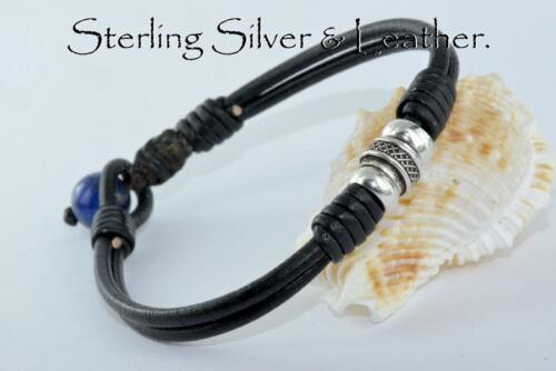Custom Made Sterling Silver Leather Lapis Lazuli Wristband Men Bracelet 2B-220