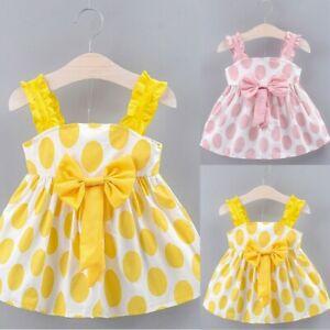 Casual Toddler Baby Girls Kids Strap Dot Print Summer Dress Princess Dresses UK